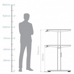 Smart Lift Table Legs 1200 – 1600 Gas Lift (without table top)