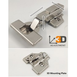 Thick Door Hinge 15-35mm Soft Close With 3D Mounting Plate