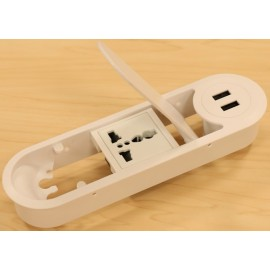 Electric Box with Cable Manager 2 (with 2 USB Charger and 1 Universal Power Socket)
