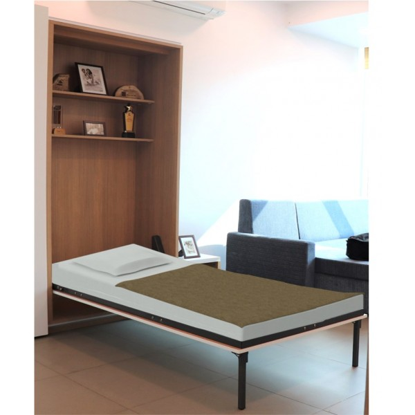 Wall Bed - Single (Complete Fittings with Frame, Slats and Manual Legs)