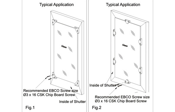 Ebco Glass Corner Holder / Glass Side Holder