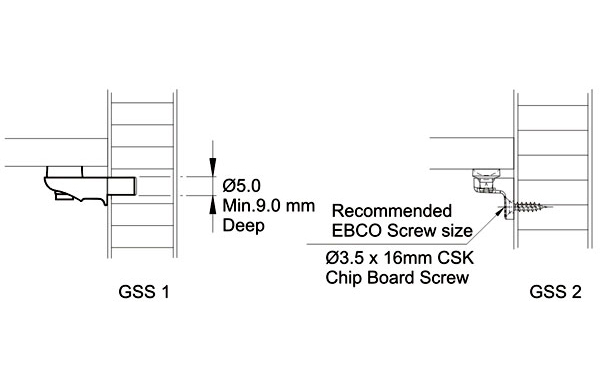 Ebco Glass Shelf Support & Glass Shelf Suport Screw