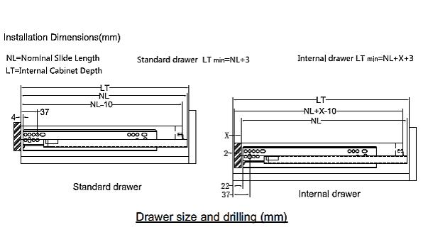 Concealed Drawer Slide Slim With Facia Bracket