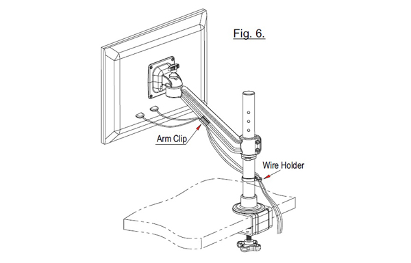 Ebco Flat Screen Holder Single Arm - Edge Mount