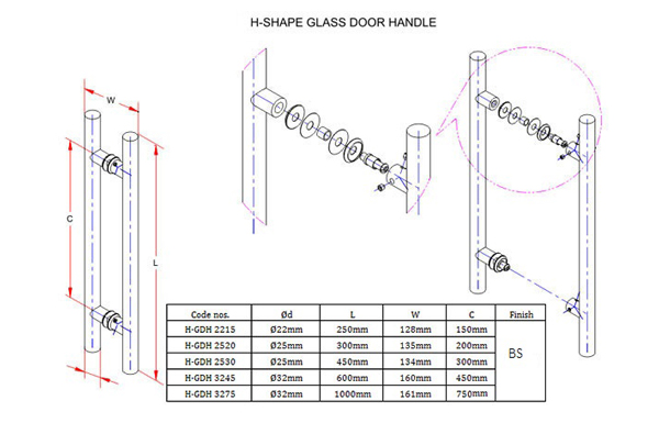 Ebco Glass Door Handles