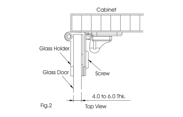 Ebco Glass Hinge - Inset