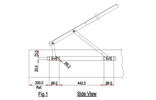 Ebco Pro Lift Bed Fitting Easy Fit - Extended Arm Heavy Duty