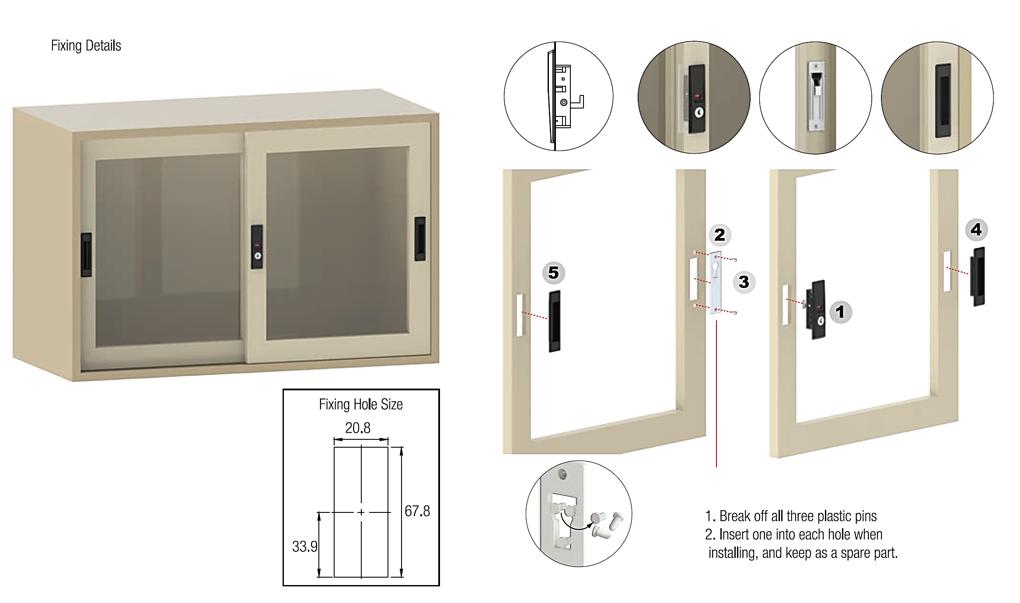 Sliding Door Lock For Steel Cabinet With Handle Set Of 2