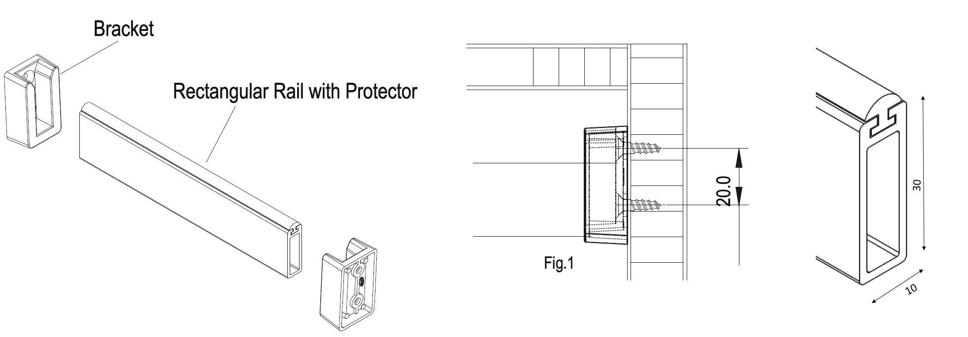 wardrobe rail fittings rectangular. Black Bedroom Furniture Sets. Home Design Ideas