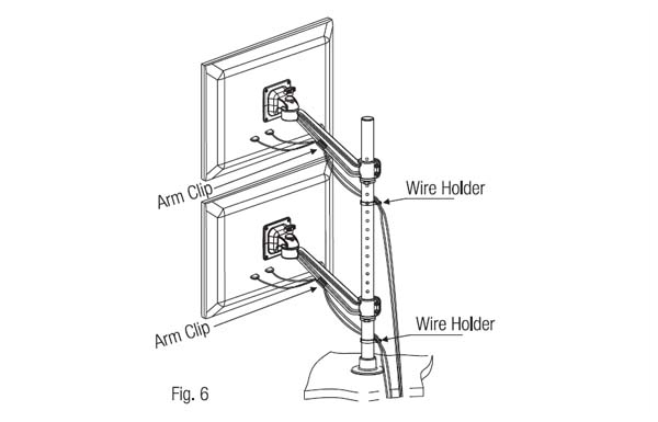 Ebco Flat Screen Holder - Single Arm Twin